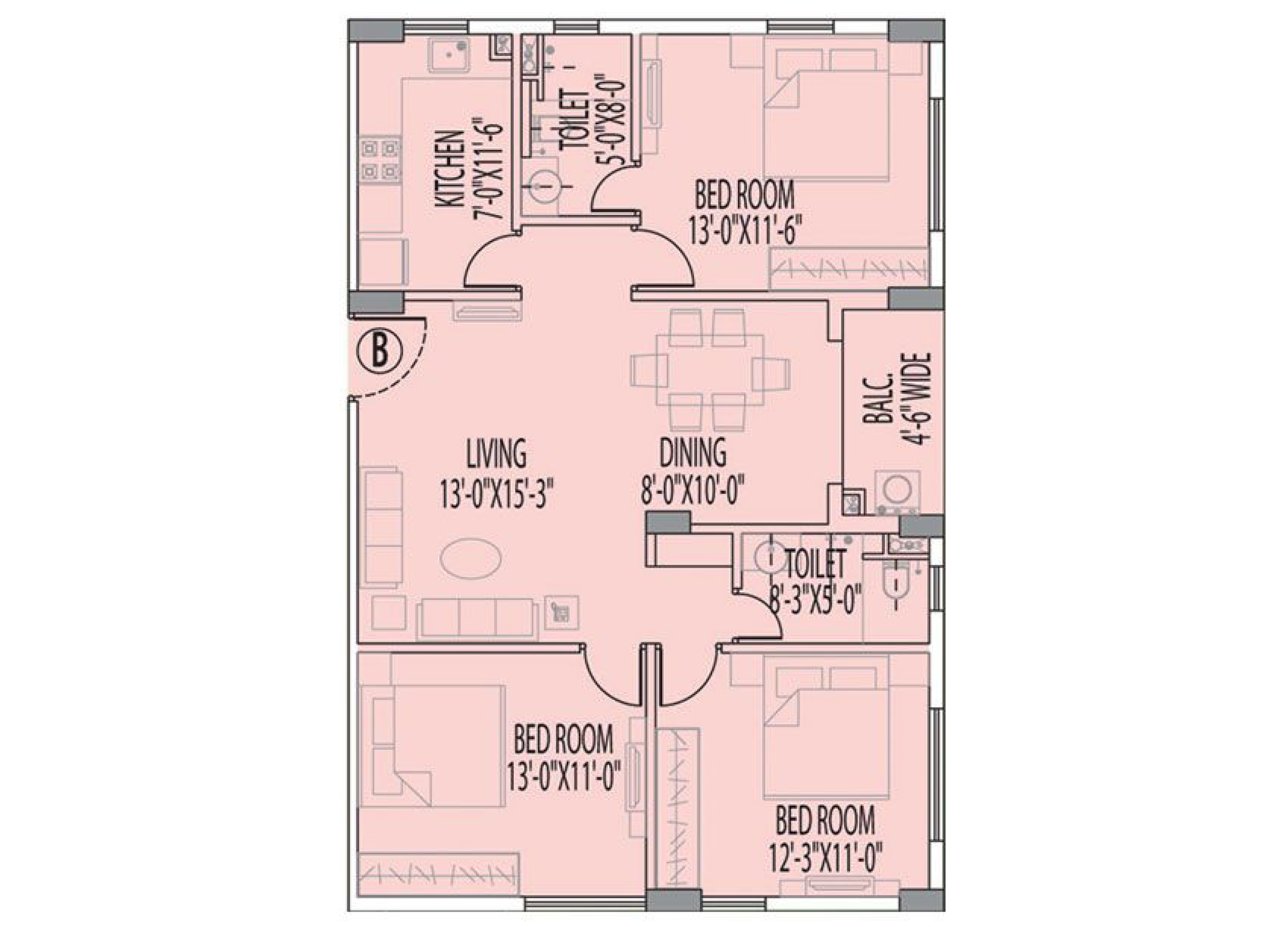 Rajat Boulevard 2 3 4 Bhk Flat In Topsia Kolkata Electrical Wiring Diagram Bedroom Plan B 1454 Sqft